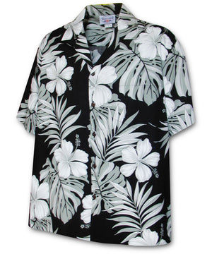 Big Hibiscus Black Hawaiian Shirt