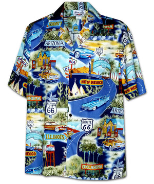 Historic Route 66 Navy Hawaiian Shirt