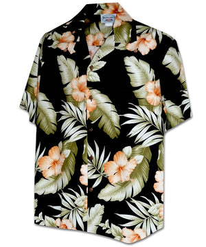 Orange Hibiscus Black Hawaiian Shirt