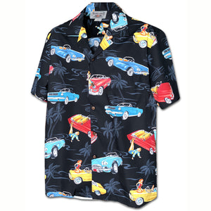 American Classic Convertibles Black Hawaiian Shirt