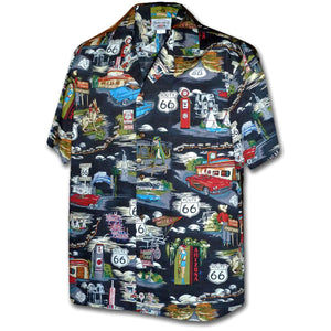 Route 66 Americana Black Hawaiian Shirt