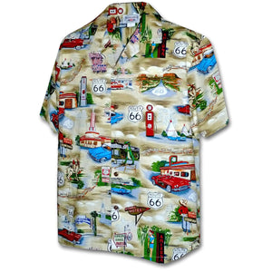 Route 66 Americana Khaki Hawaiian Shirt