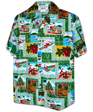 Santa in Paradise Green Hawaiian Shirt
