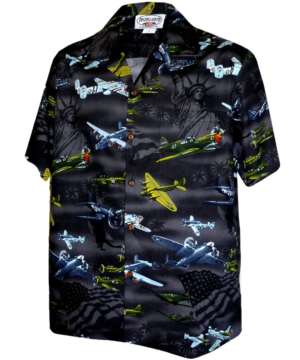 Vintage Wings of Liberty Black Hawaiian Shirt