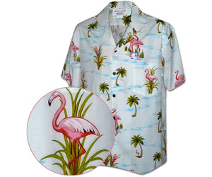 Ferocious Flamingo White Hawaiian Shirt