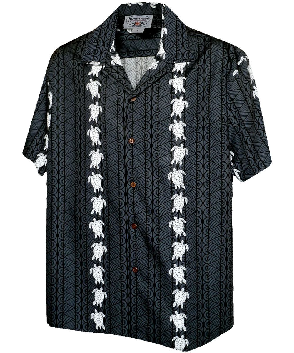 Turtle Panel Black Hawaiian Shirt