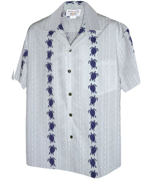 Turtle Panel White/Navy Hawaiian Shirt