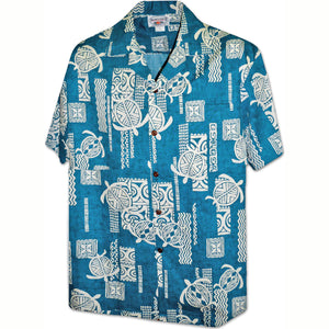 Island Honu Teal Hawaiian Shirt