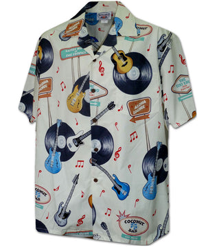 Vinyl Rock and Roll Ivory Hawaiian Shirt