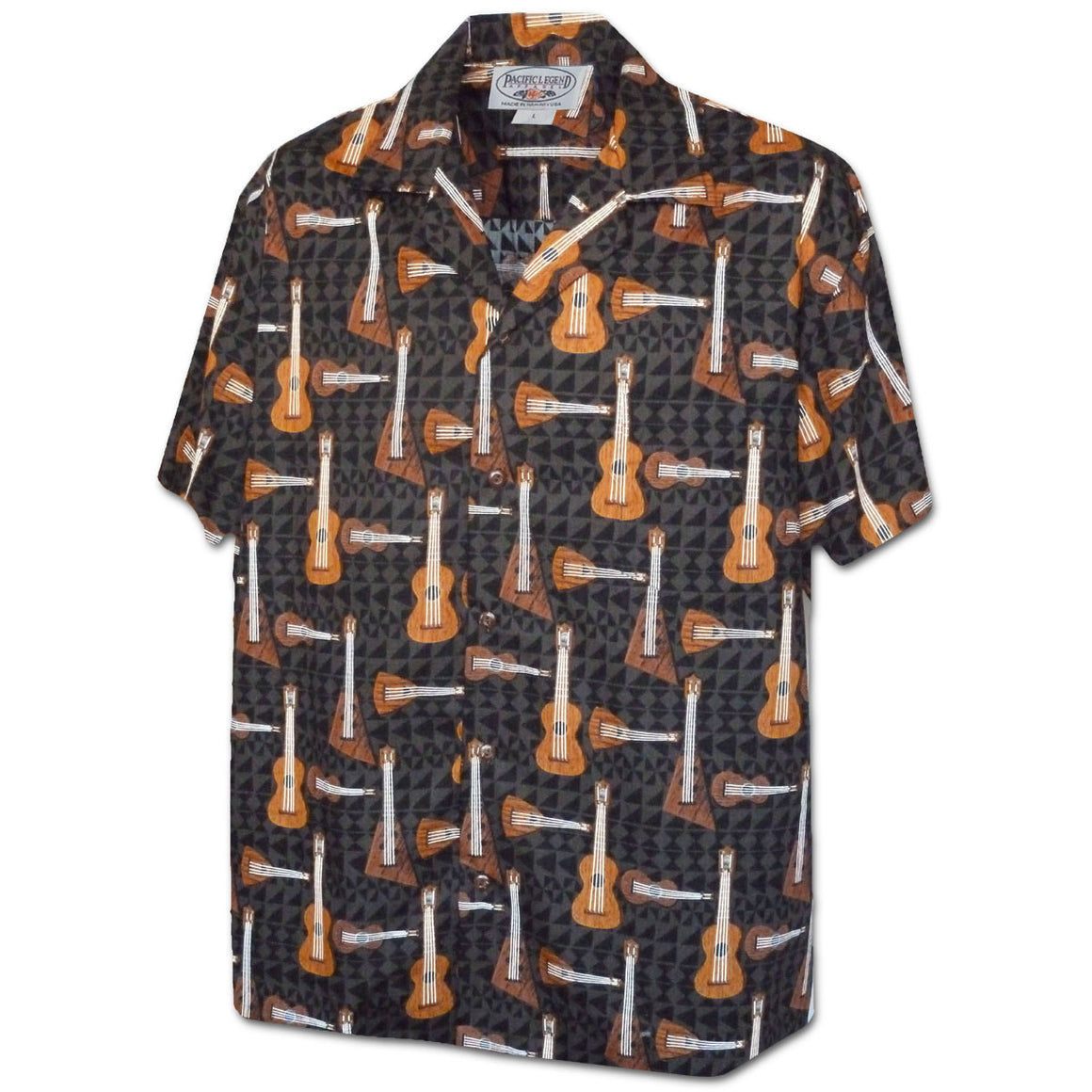 Ukulele Time Black Hawaiian Shirt