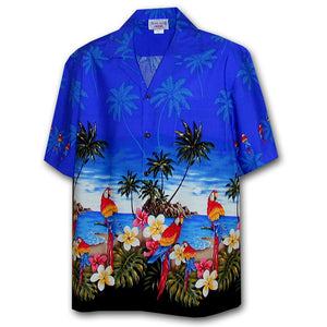 Parrot Island Blue Hawaiian Shirt