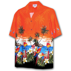 Parrot Island Orange Hawaiian Shirt
