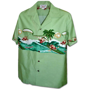 Santa Goes Hang Gliding Sage Hawaiian Shirt