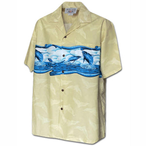 Jumping Whales Khaki Hawaiian Shirt