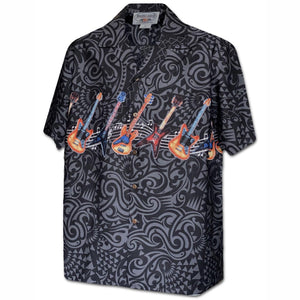 Guitar Rock Black Hawaiian Shirt