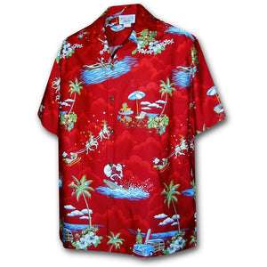 Santa Arrives in Hawaii Red Hawaiian Shirt