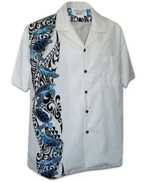 Turtle Spirit White Hawaiian Shirt