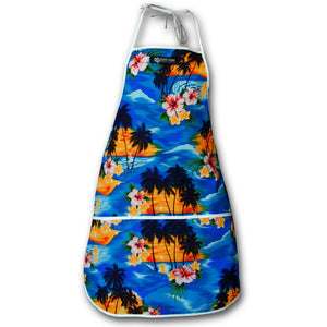 Diamond Head Sunset Blue Hawaiian Print Apron