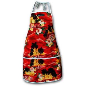 Diamond Head Sunset Red Hawaiian Print Apron