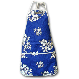 White Flower Blue Hawaiian Print Apron