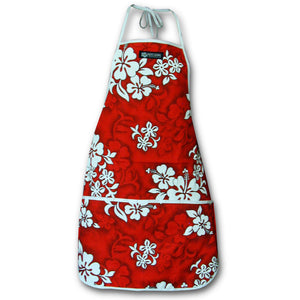 White Flower Red Hawaiian Print Apron