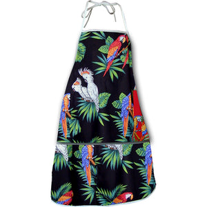 Macaws and Cockatoos Black Hawaiian Print Apron