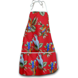 Macaws and Cockatoos Red Hawaiian Print Apron