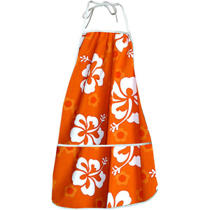 Flower Power Orange Hawaiian Print Apron