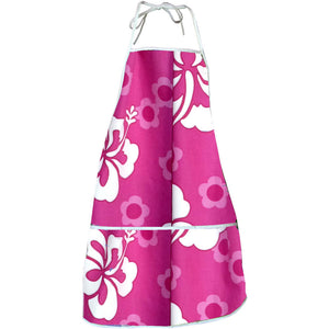 Flower Power Pink Hawaiian Print Apron