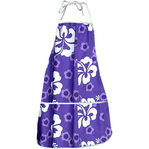 Flower Power Purple Hawaiian Print Apron