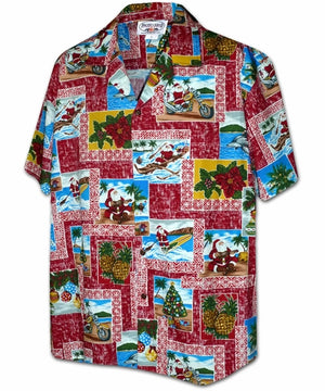 Santa in Paradise Red Hawaiian Shirt