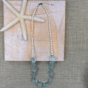 Sea Glass + Pearl Necklace