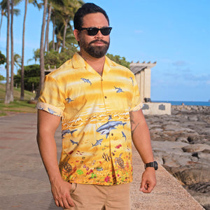Shark Storm Yellow Hawaiian Shirt