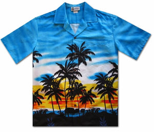 Sunset Glow Blue Hawaiian Shirt