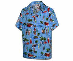 Surfer Anthem Blue Boy's Hawaiian Shirt