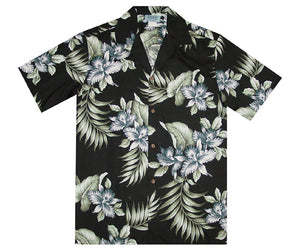 Triple Orchid Black Hawaiian Shirt