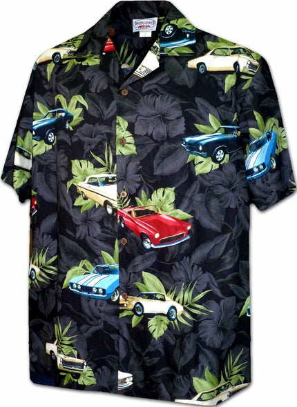 Vintage Cars Black Hawaiian Shirt