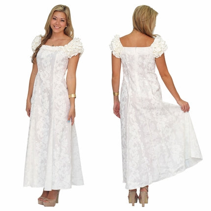 Wedding White Ruffle Hawaiian Dress