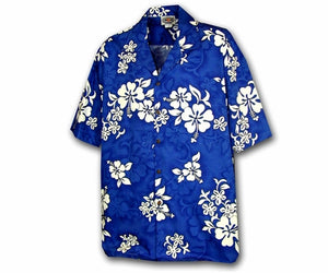 White Flower Blue Boy's Hawaiian Shirt