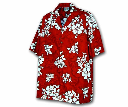 bce9e069309 White Flower Red Boy's Hawaiian Shirt - AlohaFunWear.com