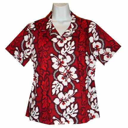 White Hibiscus Panel Red Fitted Women's Hawaiian Shirt
