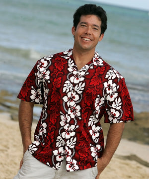 White Hibiscus Panel Red Hawaiian Shirt