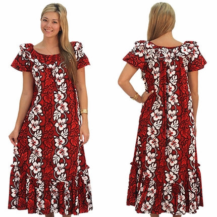 White Hibiscus Panel Red Short Sleeve Muumuu