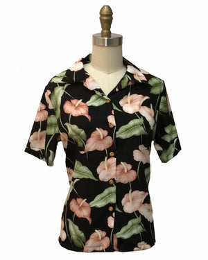 Women's Anthurium Anthem Black Campshirt