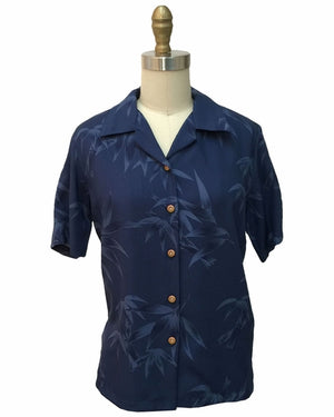 Women's Bamboo Garden Navy Camp Shirt