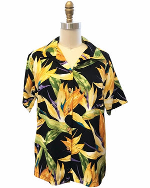 Women's Watercolor Paradise Black Camp Shirt