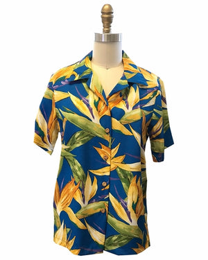 Women's Watercolor Paradise Blue Camp Shirt
