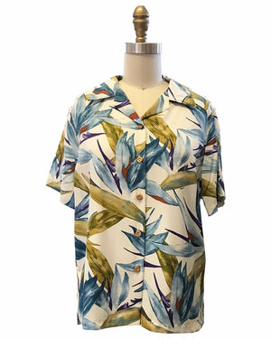 Women's Watercolor Paradise Cream Campshirt