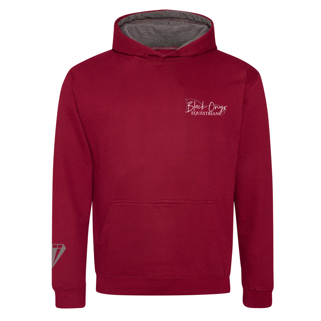 Young Talent Contrast Hoodie - Burgundy