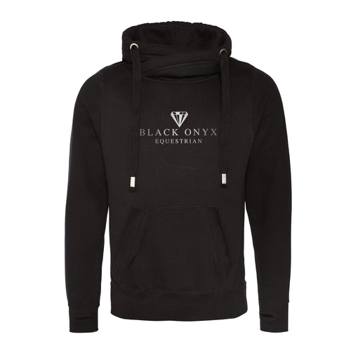 Unisex Cross Neck Hoodie - Black